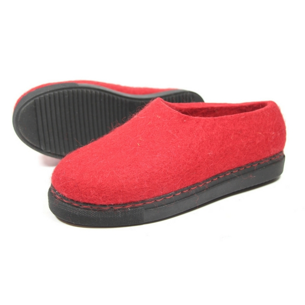Womens Wool Shoes Mono Red 4 FELT FORMA .jpg