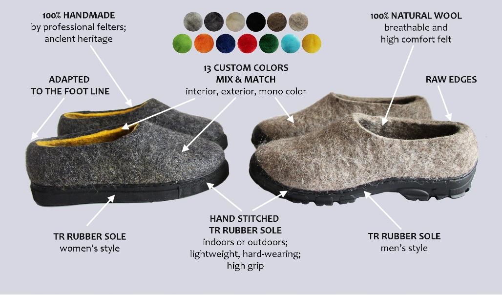 organic wool loafer boots felt forma