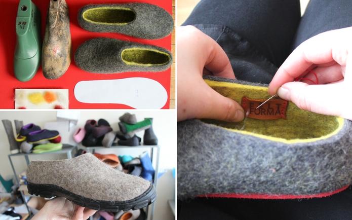 FELT FORMA making custom handmade wool boots, felt loafers, adding logo by hands