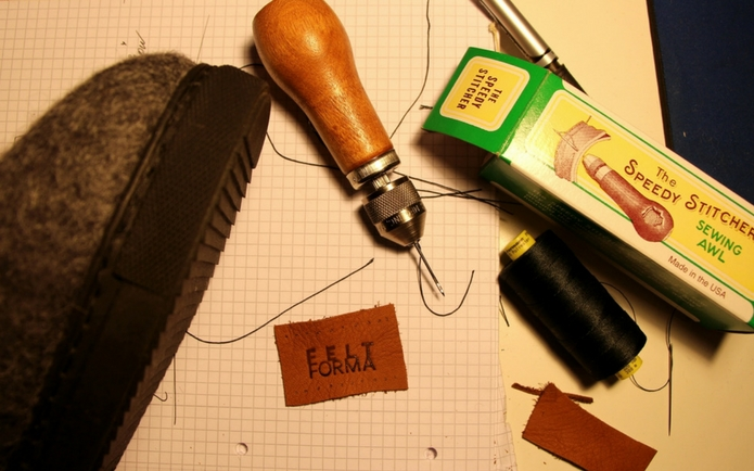 Sewing the TR rubber soles for outdoors for Wool Felt Boots