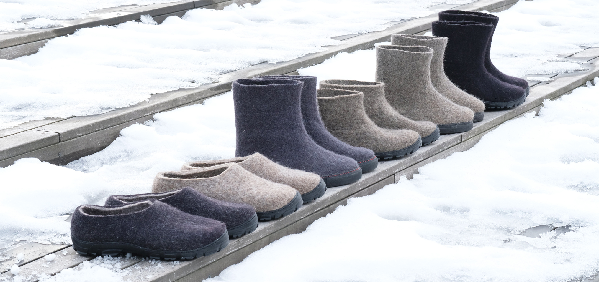Organic wool felted boots and wool loafers at FELT FORMA