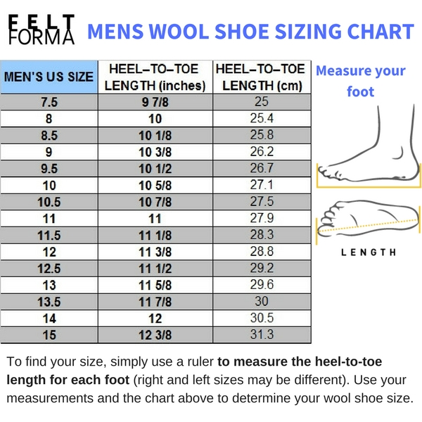 FELT FORMA felt shoes and wool boots sizing table - MENS
