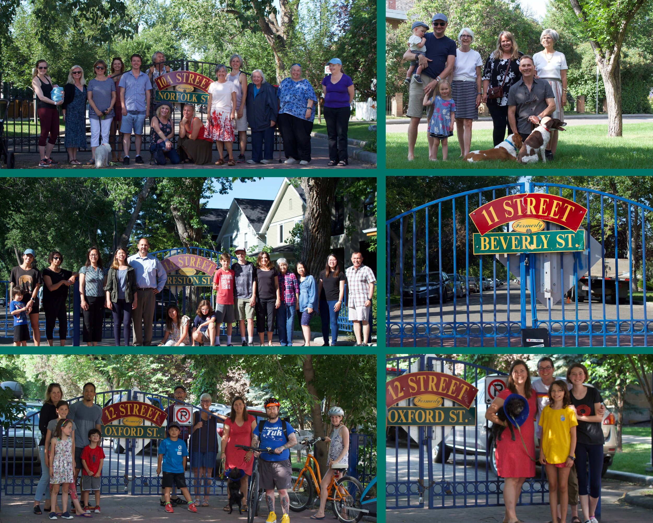 BUILDING COMMUNITY ONE STREET AT A TIME: Hillhurst Sunnyside neighbours gather at the pedestrian gates of historic 10A, 11, 11A and 12 Streets (with bonus Gladstone Road) at a recent community photo shoot.  Photo collage by Stephanie Corbett
