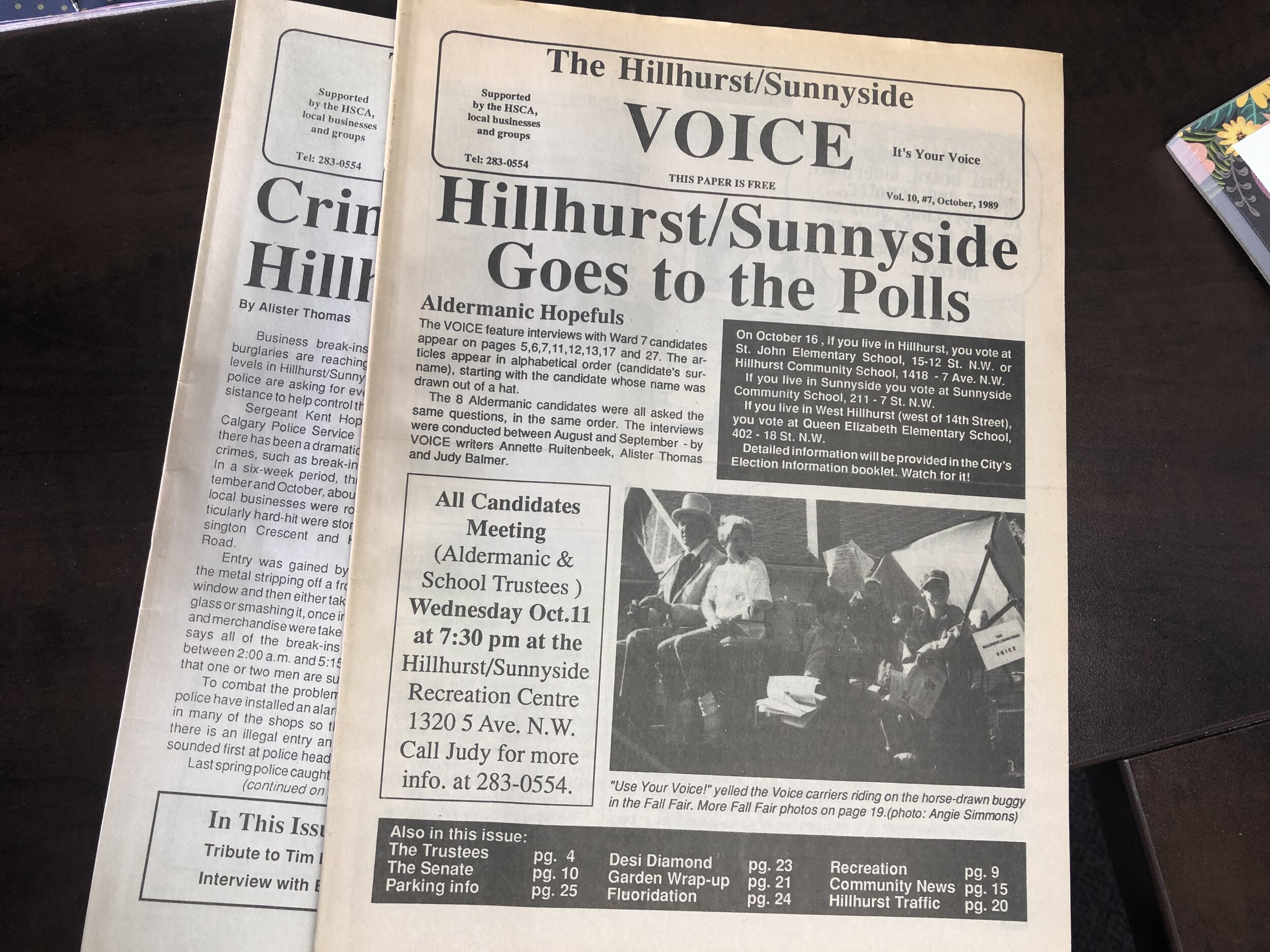 (Pictured) The Hillhurst Sunnyside Voice, October 1989 Edition