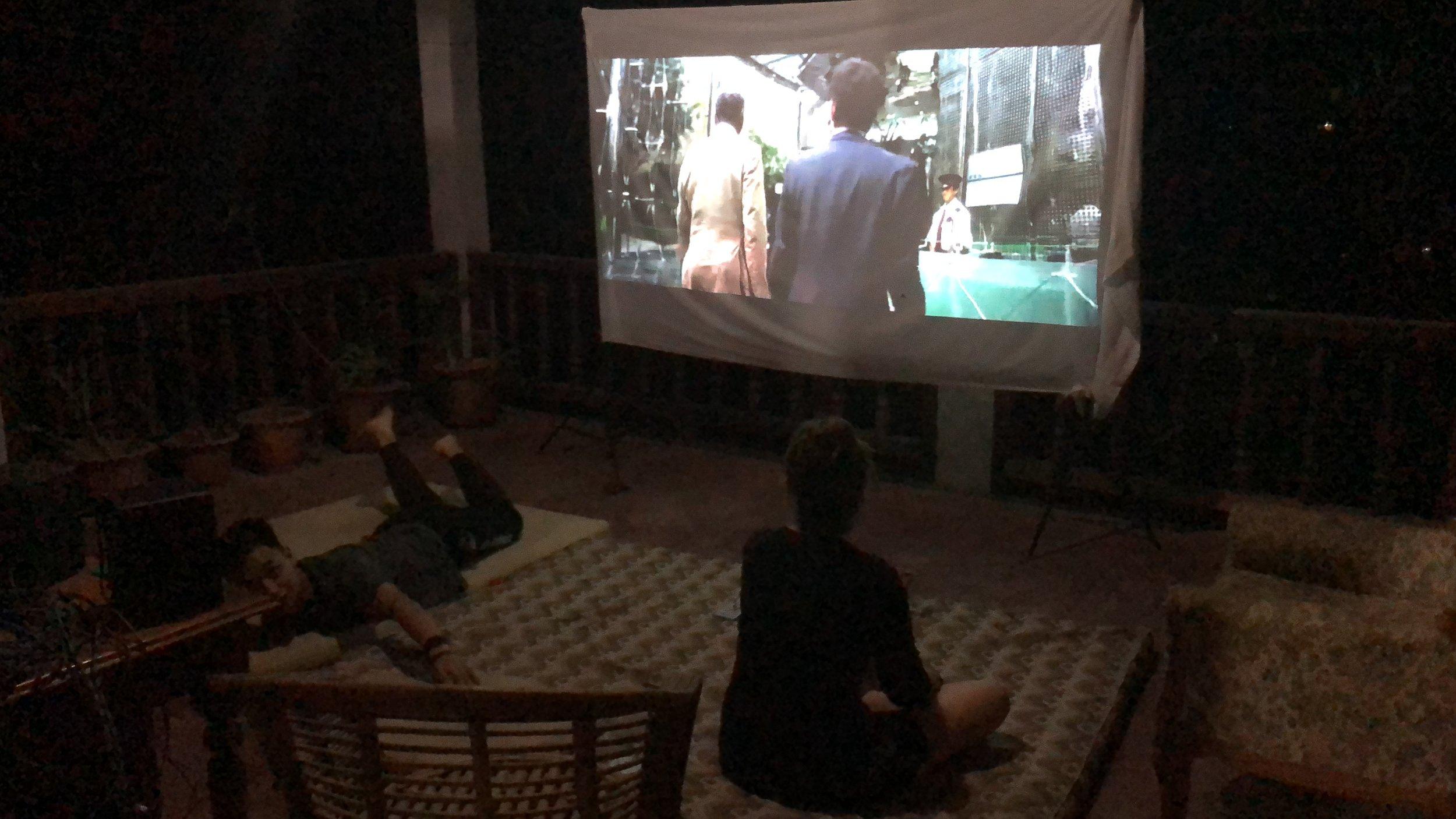 Movie night on the balcony :-)