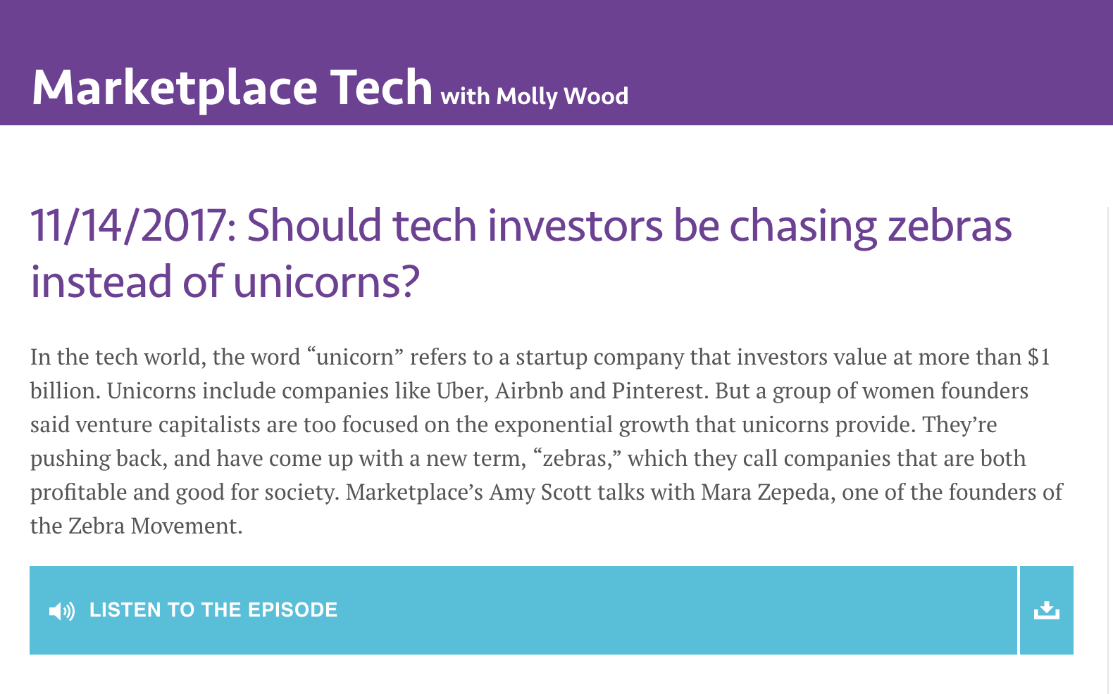 """Marketplace: """" Should tech investors be chasing zebras instead of unicorns?, """" 11/14/17"""