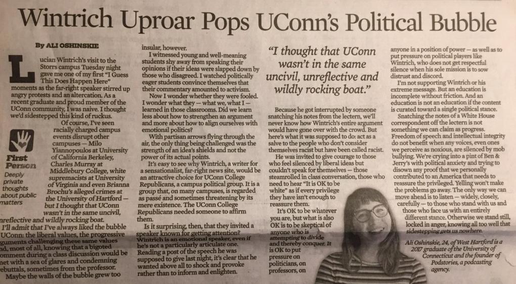 Lucian Wintrich Uproar Pops UConn's Political Bubble