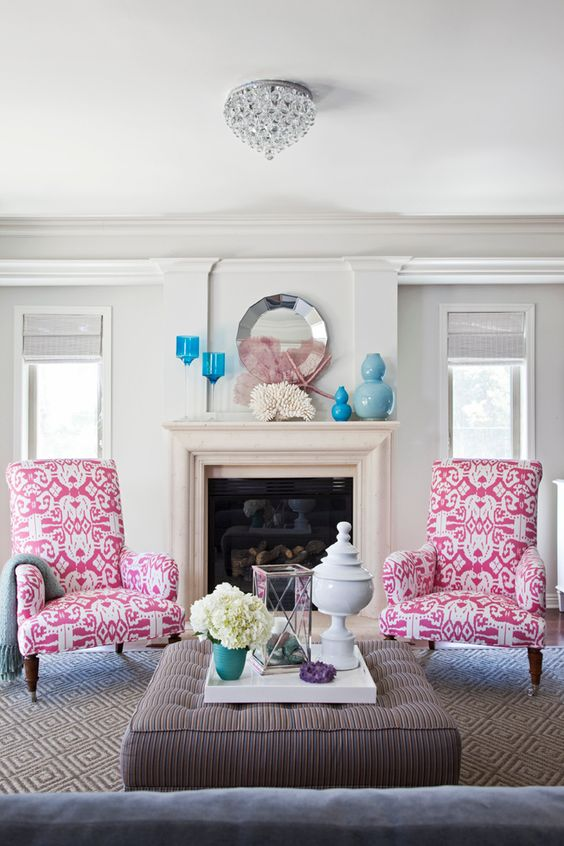 Hot Pink:  Wing Tip Chairs