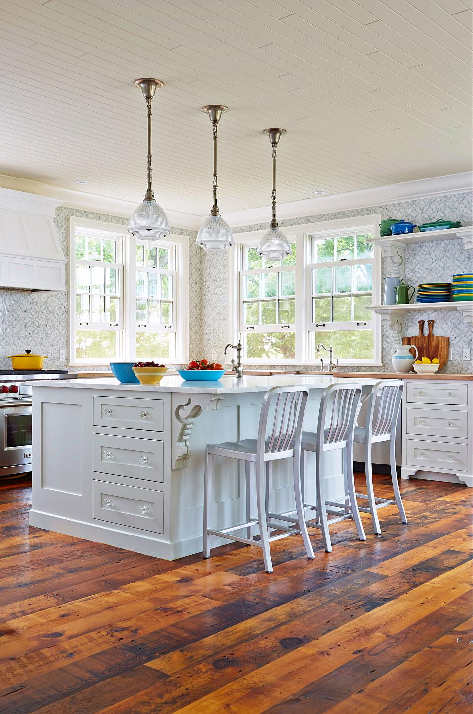A large country kitchen for family to shuck corn, bake blueberry pies, and raid the kitchen at midnight.