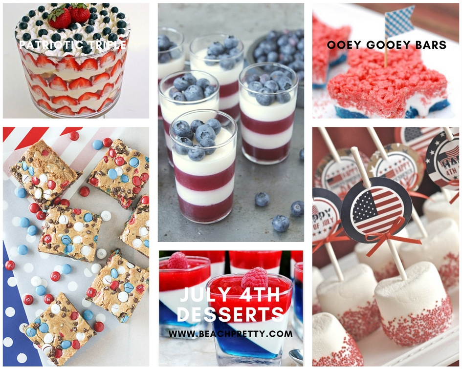 Clockwise:  1.  Patriotic Trifle  2.  Parfaits  3.  Ooey Gooey Bars  4.  Marshmellow Treats  5.  Jello  6.  M & M Cookie Bars