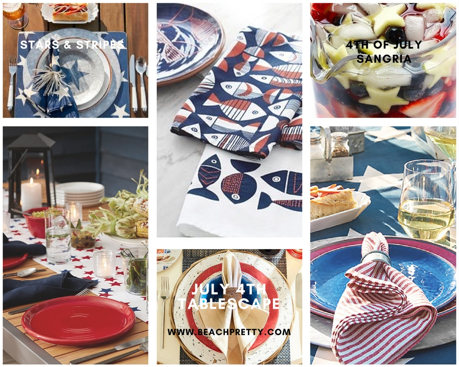 Clockwise:  1.   Blue Star Place Setting  2.  Fish Towels   3,  4th of July Sangria  4.  Red Stripe Table  Setting 5.  Blue, Red & White Table Setting   6.  Table Runner