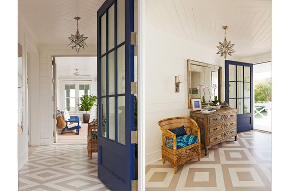 A painted foyer floor greets guests..