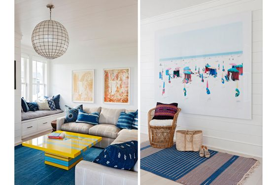 A bright family room with artwork by Delicious artwork by Matthew Brandt is made of Gummi Bears and Pixy Stixs.