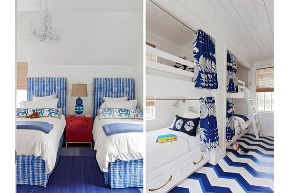 Cozy Beach-style bunks and twin beds...so fun!