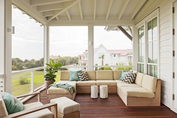 Brian Hall also built this teak porch sectional.