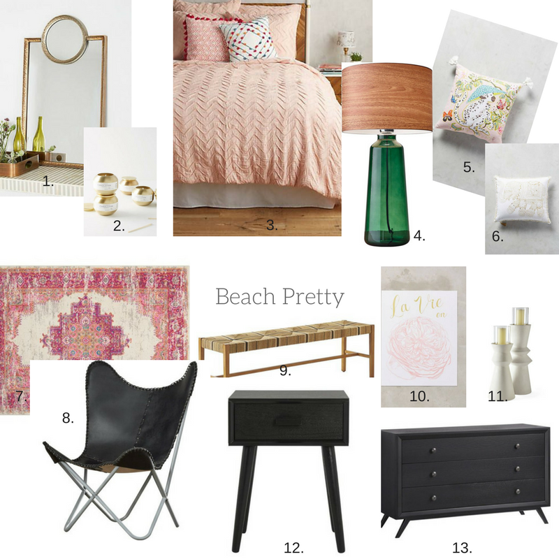 Beach Pretty House Style:  Today's Bedroom Crush 8|10|17 1.   Layered Mirror  | 2 . Candlefish Candle Tin  | 3.   Textured Chevron Duvet  | 4.   Adesso Jade Table Lamp  |  5.  Palace Portrait Pillow  | 6.   Embroidered Elephant Pillow  | 7.   Bungalow Bethesda Area Rug  | 8.  Zipcode Design Sharon Chair | 9.   Bedside Bench  | 10.  La Vie En Rose Print  |  11.  Nicasio Pillar Candles  |12.  Varick  Gallery Creel End Table  | 13.  Langley Street Marnie Bureau  |