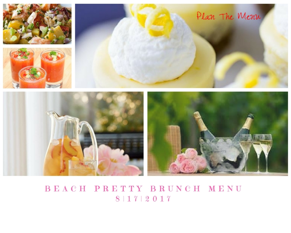 Step Two: Plan The Menu   When planning a menu for your brunch look for recipes that you will be able to prepare in advance, because when you host a party you want to be able to enjoy the day, and you want the party to flow and appear effortless. If you have time, your guests will appreciate if you check with them about any diet needs; such as, if they are vegan or allergic to a certain food item. This gives you time to plan and prepare an alternative meal for them. When your guests arrive greet them with a glass of bubbly, and set up a  bar cart  or a beverage station on buffet table. On the buffet table line a beverage tray with beautiful  champagne flutes , an ice bucket chilling a few bottles of champage , always include a pitcher of a non-alcohol beverage, and today we are serving  southern peach sweet tea ,, because we love how pretty it looks and tastes. When planning the courses for your brunch keep it simple and visually stimulating. People taste with their eyes too..seems silly, but when you look at something delicious, we get hungry. Our first course is  chilled gazpacho with serrano chilies , which we serve in a shooter or cocktail glasse and we garnished the gazpacho with a confetti of diced cucumber, peppers and tomato...gorgeous! Our second course is  Lobster and Potato Salad , a decadent showstopper....delicious! Our last course on our menu today is  individual lemon cheesecakes ...a refreshing final act. If you are not a natural born baker, or you just do not have the time to bake, pick up a cheesecake at your local baker and garnished it with fresh berries and whip cream.