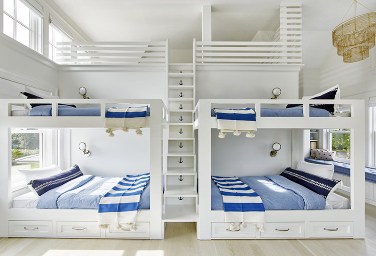 The bunks have individual lighting from  Circa Lighting ,the nautical bedding is from  Pottery Barn , I absolutely adore the Arrow Indigo Pillows from  Filling Spaces , and the striped throws are from  Chango &Co .throws.