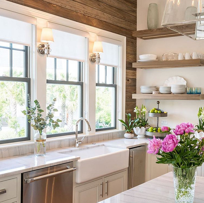 "One of my must haves in a kitchen besides plenty of storage is large windows to bring in the light, I love to cook and natural light makes me happy.  The  farmhouse sink  is Rohl 36""."