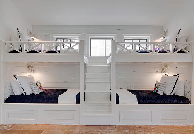 Bunk Beds are a Beach House Must...and have your builder build in draws under the beds...you can never get enough storage space.   Boys Nautical Bedding Sets
