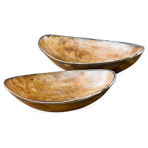 Natural Horn Bowls with Brass
