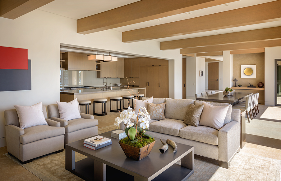 French limestone and custom rift oak flooring, gris pulpis and Travertine marble countertops, walls of Portuguese limestone, black Mexican pebble landscaping accents, all of these luxury elements blend to give this house the attention to detail any luxury homeowner desires.