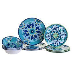 Melamine 12pc Dinnerware Set Blue