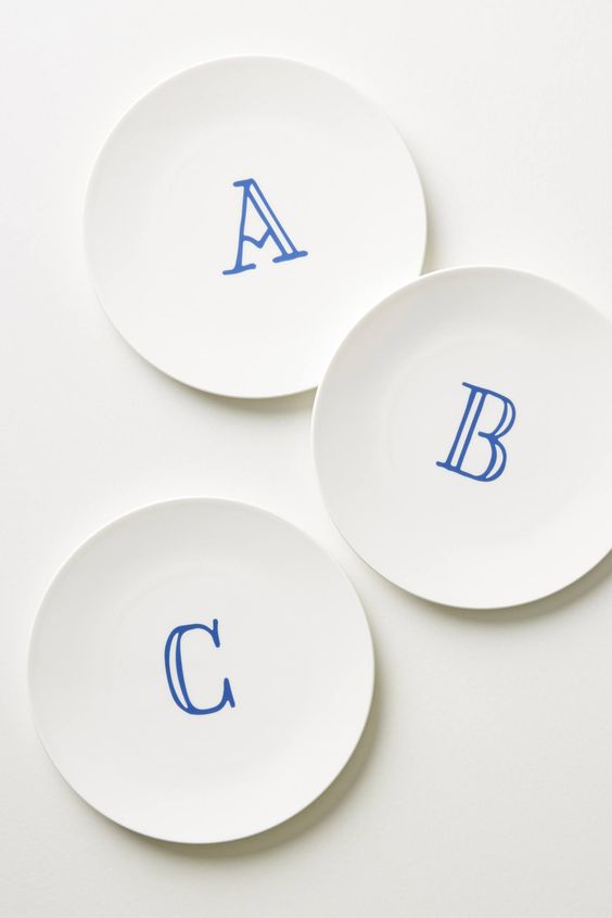 Modern Monogram Side Plate in Blue and White