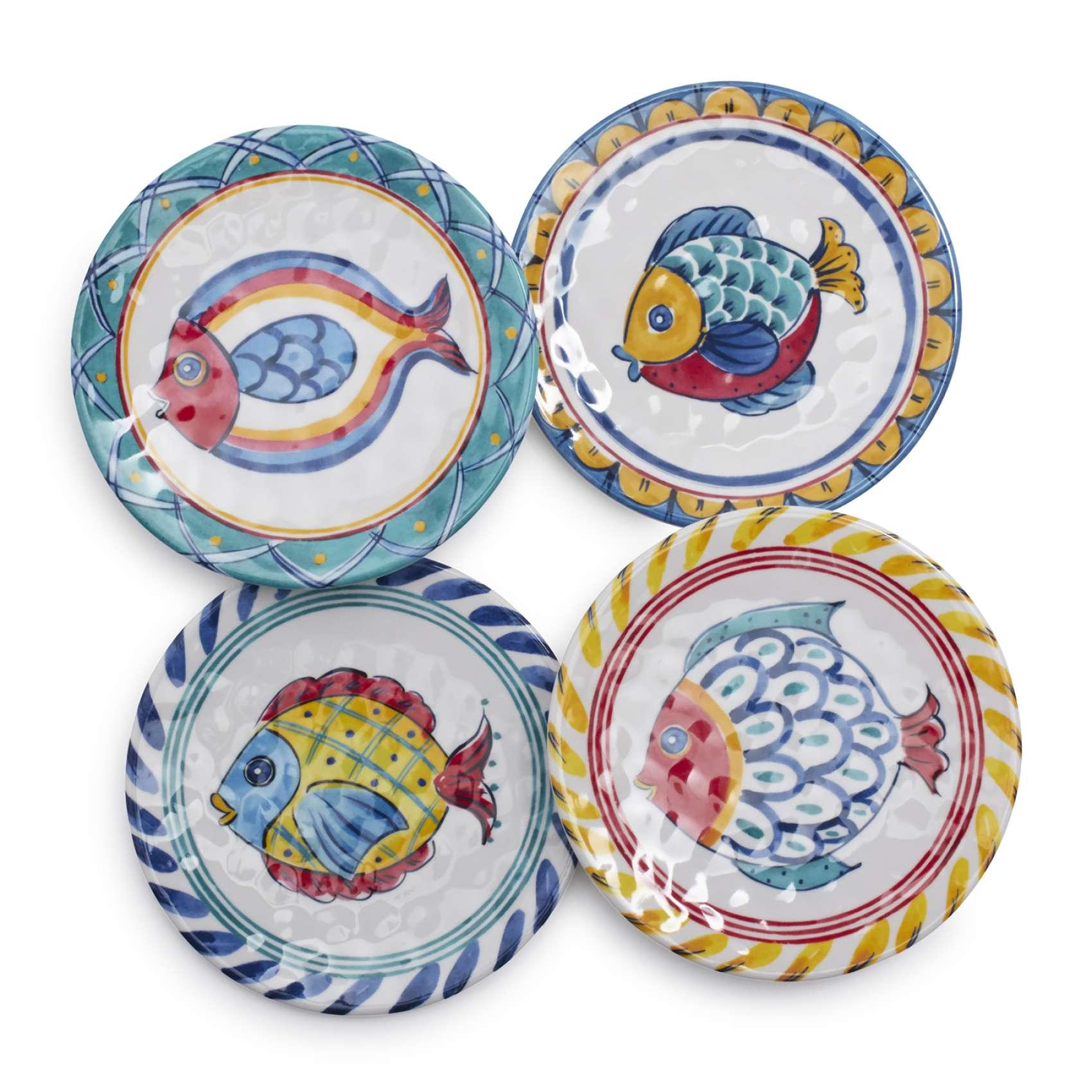 Positano Fish Melamine Appetizer Plates