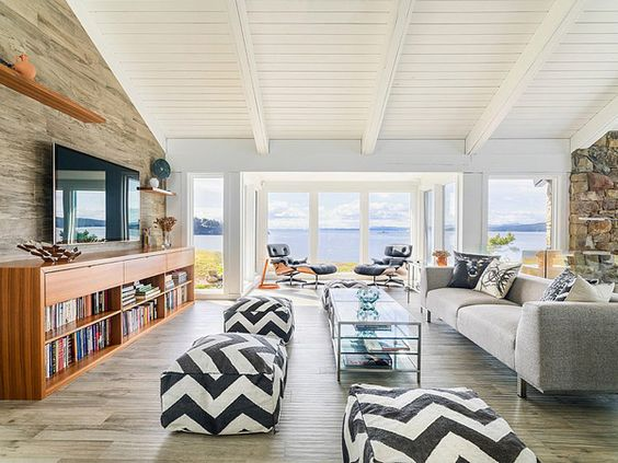 The planked floor tiles are actually made of Italian porcelain, and they are heated to keep you cozy and warm on Pacific Northwest summer nights.