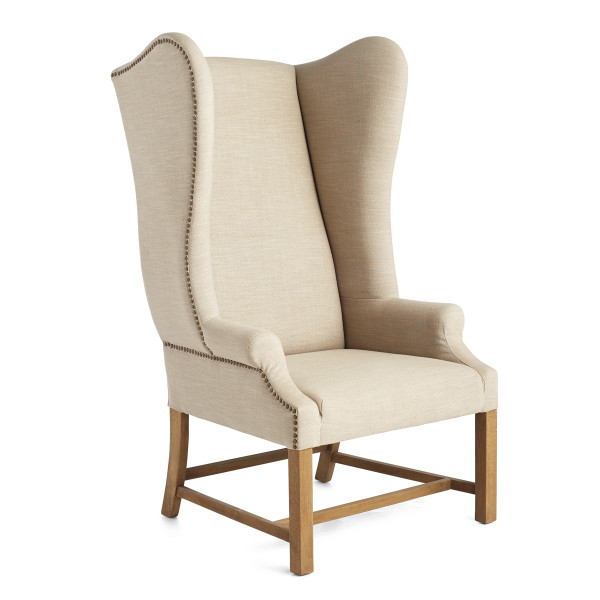Oak and Linen Wing Chair