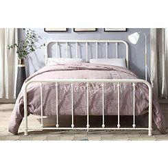 Metal Slat White Queen Platform Bed