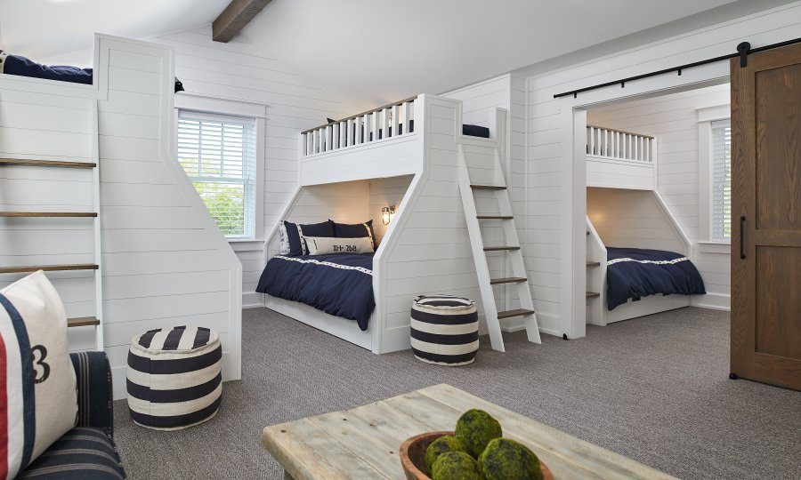 Boy's Nautical Bunk Beds at a Lake House in Glen Arbor, Michigan