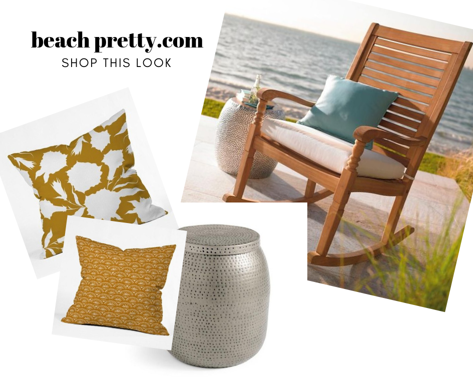 Sitting Seaside: Clockwise 1.  Rocking Chair  2.  Silver Side Table  3.  Pillow  4.  Pillow