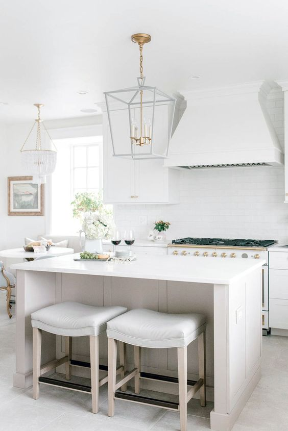 The designer created such a romantic kitchen-in love!  Via