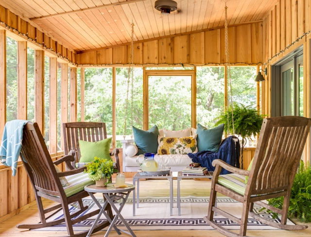 """What a Relaxing Indoor Porch..Porch Swings are So Hot Right Now….This Brings Me Back to the Movie """"The Notebook""""…Ally and Noah Reading Poetry to One Another…so Sweet."""