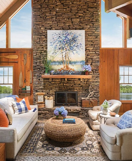 What a Gorgeous Great Room in this Lakeside Cabin!