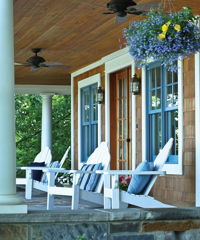 Porch Design Inspiration, and How Pretty is the Wedgewood Blue Window Trim?