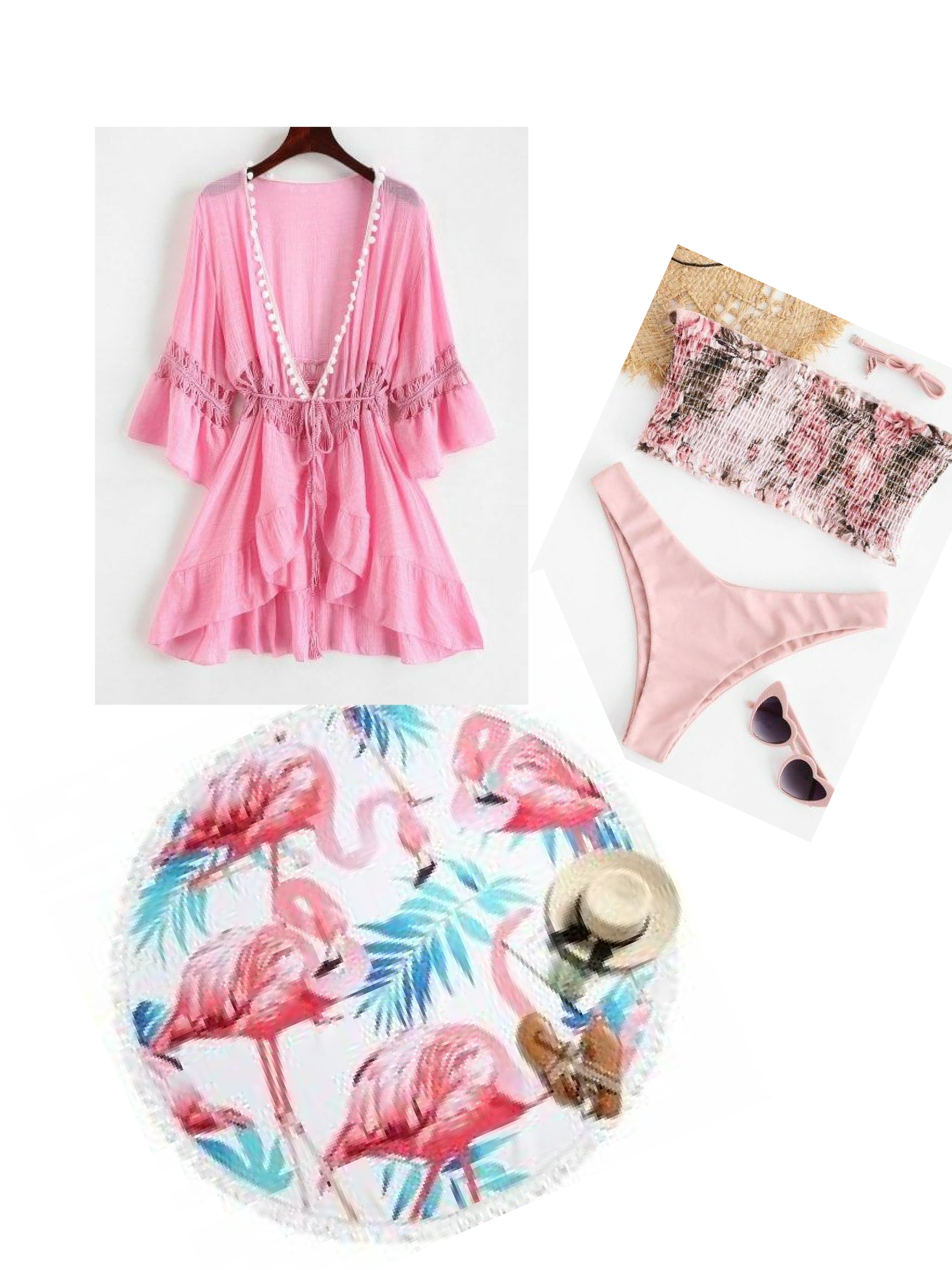 Today's Beach Style Hotlist   Light Pink Coverup    Bikini   Round  Flamingo Beach Towel