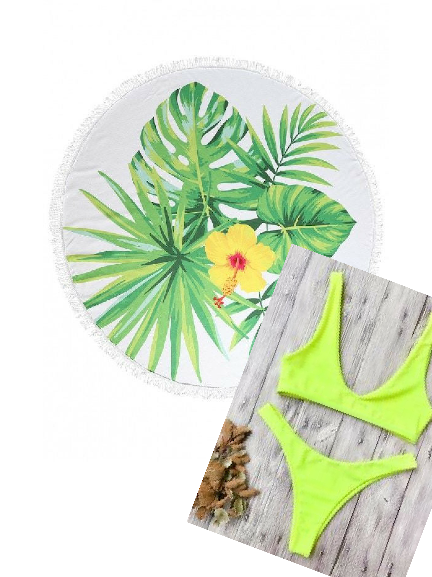 Today's Beach Style Hotlist|  Round Floral Towel|   Yellow Bikini