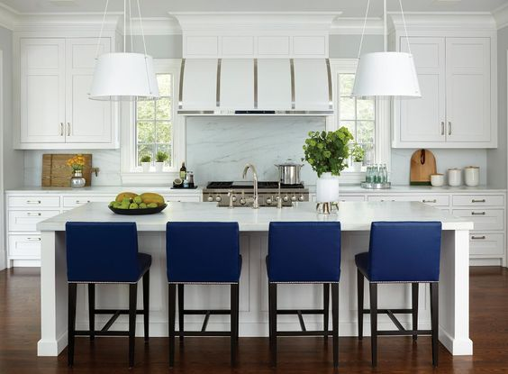 Similiar Steel White Range Hood  |  Similar Blue Velvet Bar Stool  |  Similar White Pendant Light