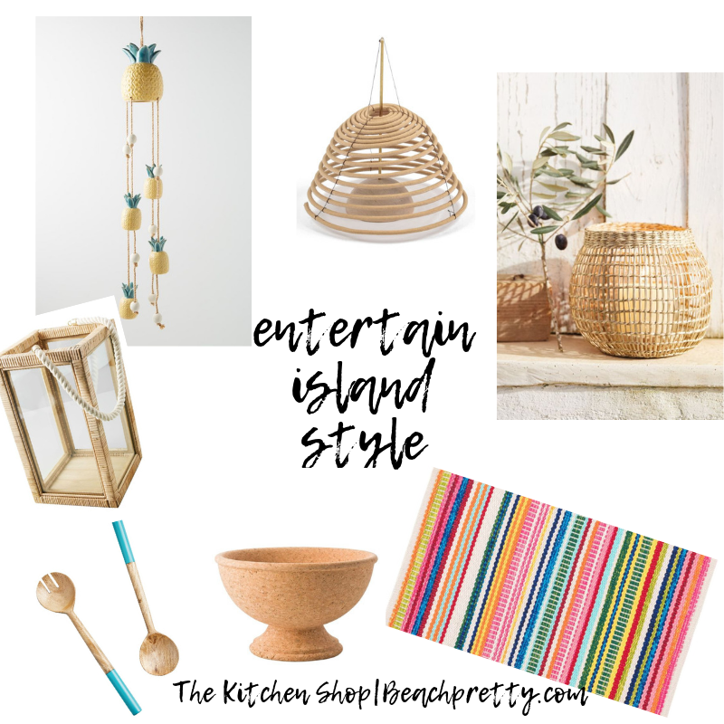| Pineapple Wind Chime |  Hanging Citronella Coi l|  Seagrass Basket Candle Holder |  Issa Rattan Lantern |  2 Piece Wooden Serving Set |  Natural Cork Bowl |  Bright Stripe Indoor/Outdoor Rug |