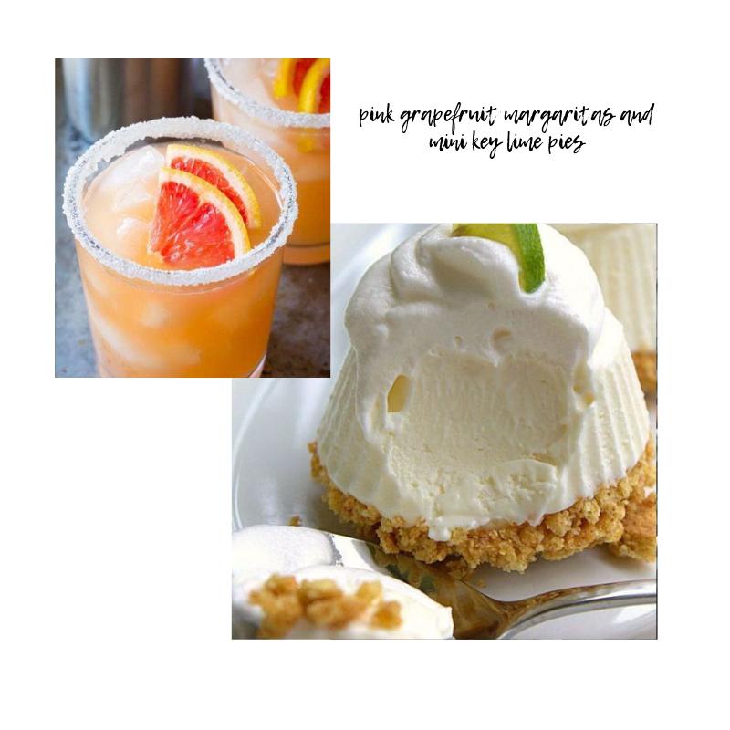 |Pink Grapefruit Margaritas|Frozen Mini Key Lime Pies|