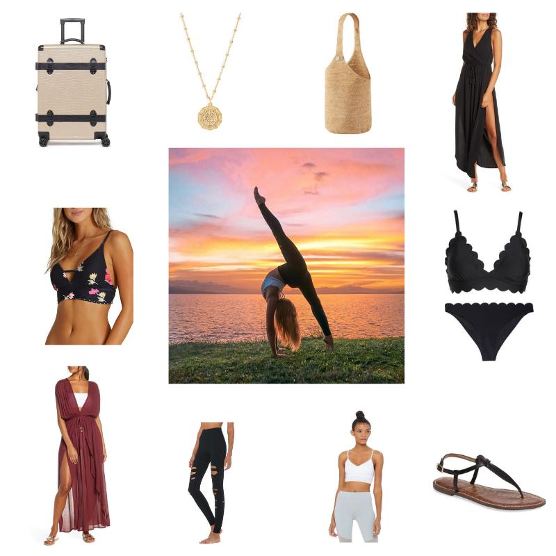 clockwise: |  Calpak Trunk Luggage  |  Atosha Coin Necklace  |  Raffia Sac Bucket Bag  |  Cover-up Midi Dress  |  Black Two Piece  |  Black Sandals  |  Lush Sports Bra  |  Ripped Warrior Leggings   | Wrap Maxi Cover-up Dress  |  Reversible Bikini  |