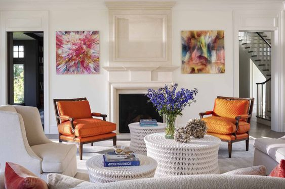 A nice mix of classic and contemporary style in this living room, and stunning modern artwork completes the look…elegant but hip.