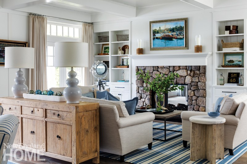 Who doesn't love a New England stone fireplace?