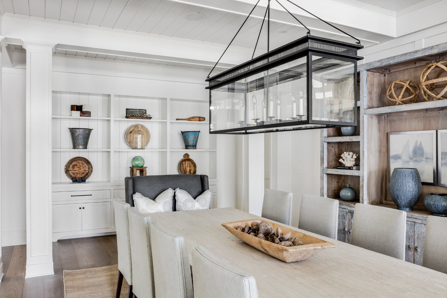 Dining room furniture with clean modern lines in a shade of driftwood.