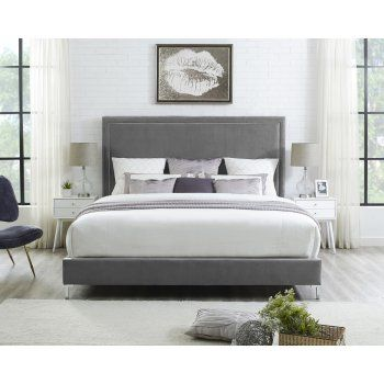 Center your bedroom design around the Inspired Home Reese Velvet Upholstered Platform Bed. This platform bed is crafted of wood, enhanced with high-density foam, and covered in luxuriously soft velvet upholstery. A nailhead trim details and metal feet add a touch of shine to this chic design. Choose from available size and color options to make it yours. Shop   here   and on Sale.