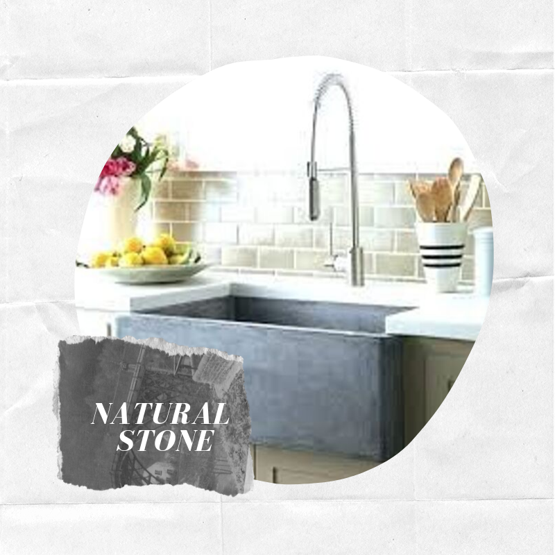 - Like copper, stone sinks are obtainable with hand-carved motif patterns that are just as detailed. Stone sinks are also very popular containing a chiseled front apron, which give them a very raw and genuine semblance. Shop this farmhouse sink.