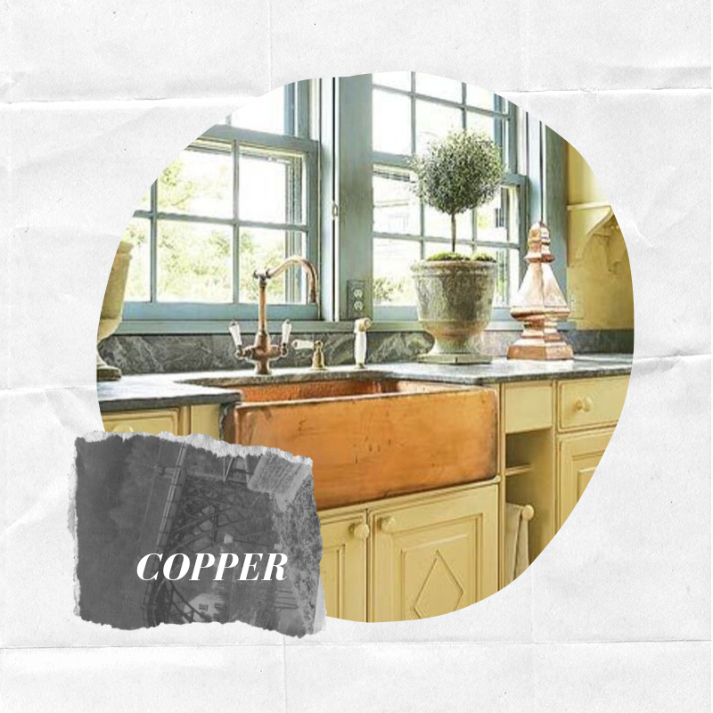 - Copper farmhouse sinks have front apron designs that are more intricate than other materials due to the metal's natural ability to flex and manipulate. They are usually found with either smooth or hammered textures, but also with very detailed designs. Shop this farmhouse sink.
